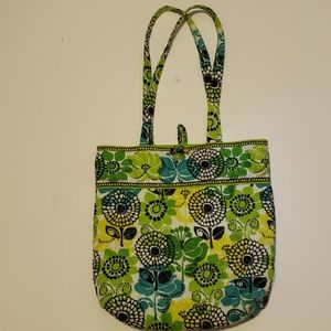 Vera Bradley Green & Blue Quilted Fabric Tote Bag,